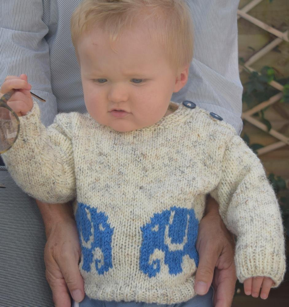 b7cb2a9f68f3 Aran Baby Elephant Sweater and Hat Knitting pattern by iKnitDesigns