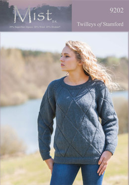 Knitted Diamond Lace Sweater in Twilleys Mist DK - 9202