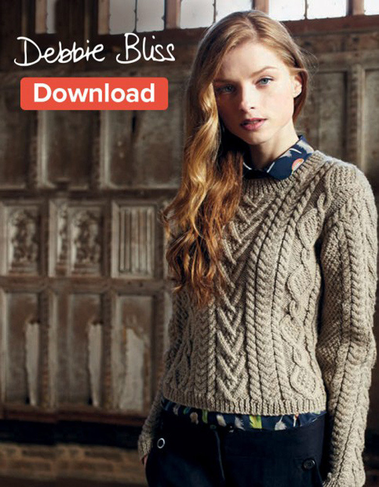 Cable Panelled Sweater In Debbie Bliss Blue Faced