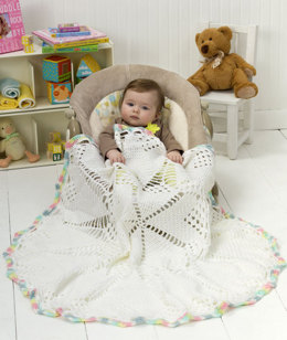 Doily Baby Blanket in Red Heart Soft Baby Steps - LW2487EN