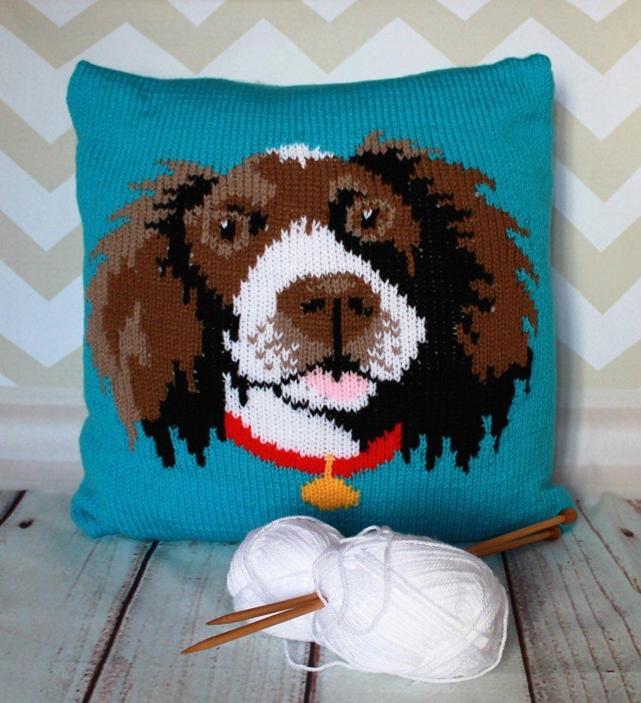 Mohair Cushion Knitting Pattern : Springer Spaniel Pet Portrait Cushion Cover Knitting Pattern Knitting pattern...