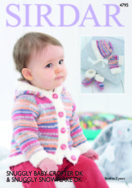 Jacket, Mittens, Bootees and Bonnet in Sirdar Snuggly Baby Crofter DK and Snowflake DK - 4795