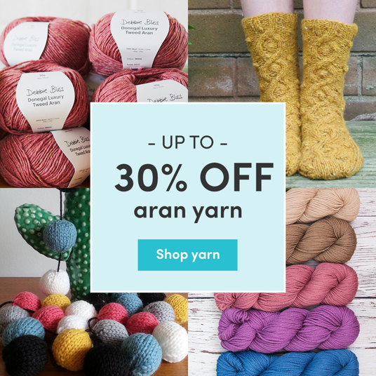 Up to 30 percent off aran yarn.
