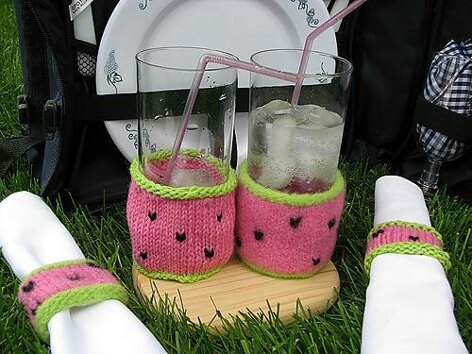 Summer Picnic Pleasers: Watermelon Glass Cozy and Napkin Ring Set