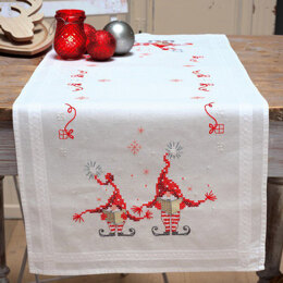 Vervaco Christmas Gnomes Tablerunner Cross Stitch Kit - 40cm x 100cm
