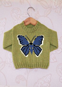 Intarsia - Holy Blue Butterfly & Childrens Sweater