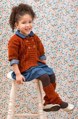 Cabled Knit Sweater & Leg Warmers in Red Heart Super Tweed - LW3597