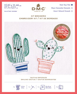 DMC Smiling Cactus Kit - Small Embroidery Kit - 16cm x 12cm - TB145