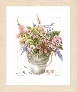 Lanarte Bouquet of Flowers in Bucket Cross Stitch Kit - Multi