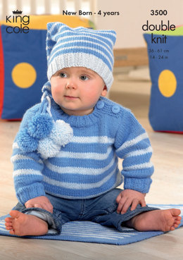 Sweater, Jacket, Hat and Blanket in King Cole DK - 3500
