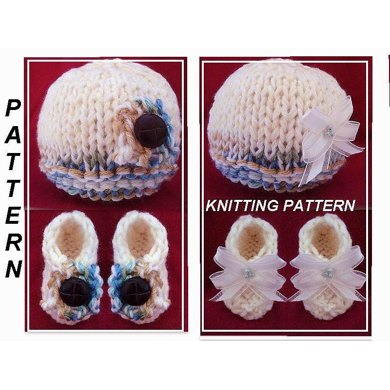 670 BEGINNER HAT AND BOOTIES, INFANT BABY