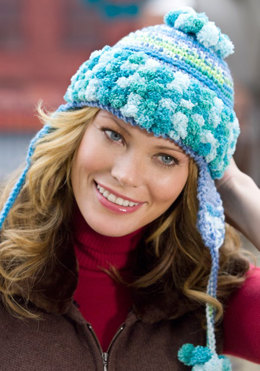 Earflap Hat in Red Heart Stripes and Pomp-a-Doodle - LW2096 - Downloadable PDF