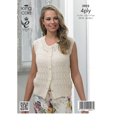 Womens' Cardigan and Waistcoat in King Cole Bamboo Cotton 4 Ply - 3922