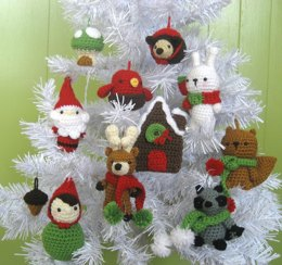 Woodland Christmas Ornament Crochet Pattern Set