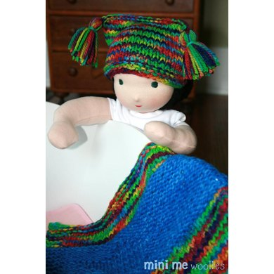 Easy Scarf Patterns To Knit : Starbaby Blankie & Nightcap for Dolls Knitting pattern by Mini Me Woolies...