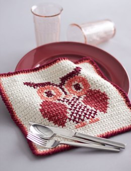 Owl Cross Stitch Dishcloth in Lily Sugar 'n Cream Solids