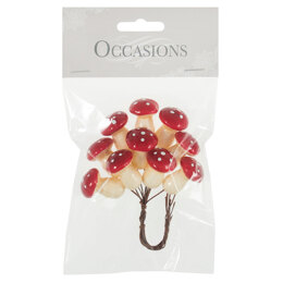 Groves Mini Toadstools on Wire: 1 Bunch of 10