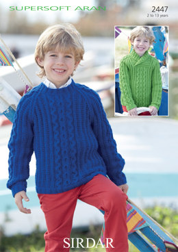 Round Neck and Wrap Neck Sweaters in Sirdar Supersoft Aran - 2447