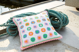 White Granny Square Pillows in Schachenmayr Catania - S9027B - Downloadable PDF