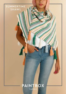 Summertime Shawl - Free Knitting Pattern For Women in Paintbox Yarns Cotton DK