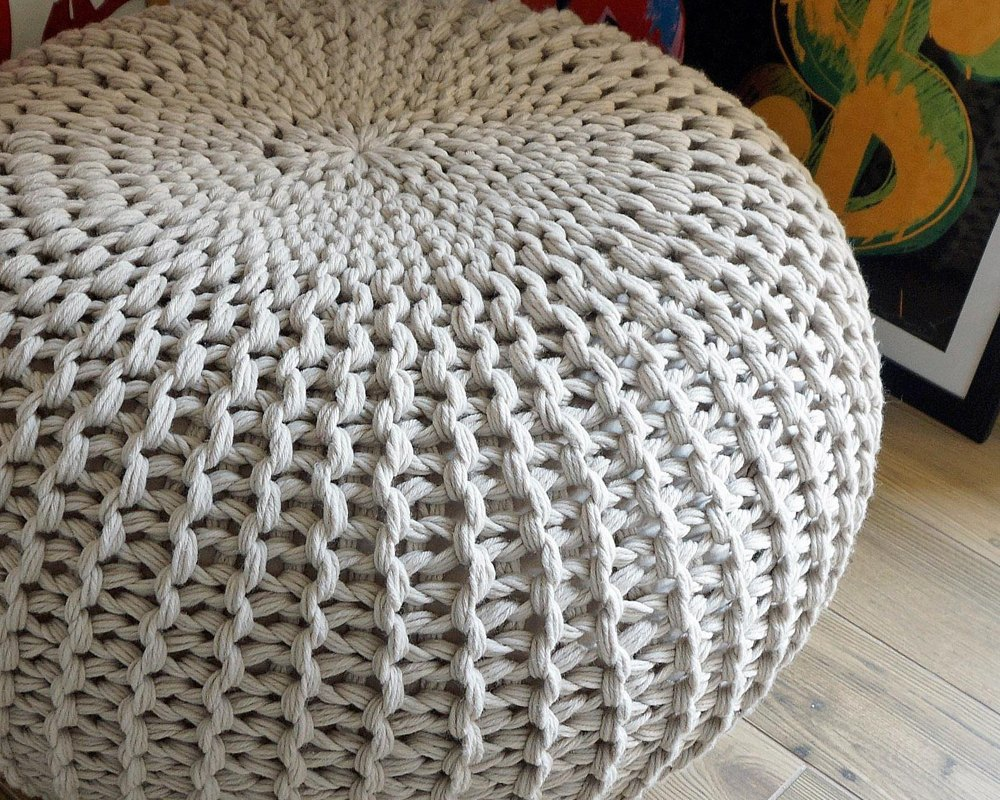 Ottoman Bean Bag Footstool Pattern Knitting Pattern By