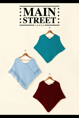 Trinity Poncho in Main Street Yarns Shiny + Soft - Downloadable PDF