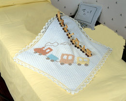 Baby Blanket with Train in Adriafil Dolcezza Baby - Downloadable PDF