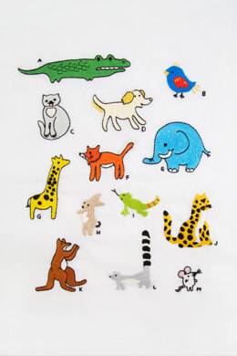 English Animal Alphabet A-M in DMC - PAT0148 - Downloadable PDF