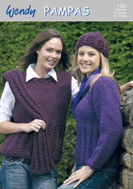 Sweaters, Scarf, Hat and Sleeveless Top in Wendy Pampas Mega Chunky - 5181