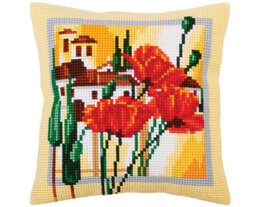 Collection D'Art Tuscany Poppies Cross Stitch Cushion Kit - Multi