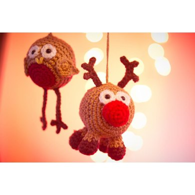Robin & Rudy Reindeer the tree decorations