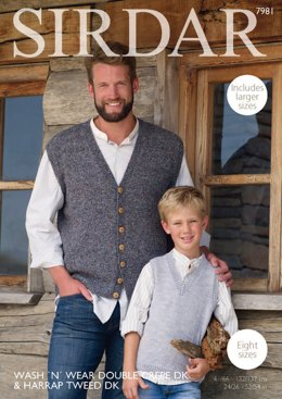 Tank Top and Waistcoat in Sirdar Wash 'n' Wear Double Crepe DK & Harrap Tweed DK - 7981 - Downloadable PDF