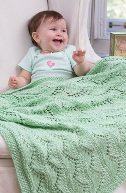 Lace Chevrons Baby Blanket in Red Heart Soft Baby Steps Solids - LW4081