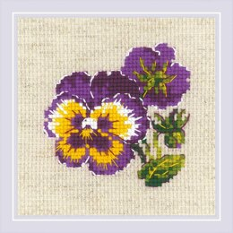 Riolis Pair Of Pansies Cross Stitch Kit - 13cm x 13cm