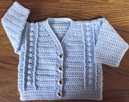 Bobble Panel Crochet Cardigan Pattern for Baby/Child (1012)