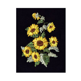 PANNA Golden Sunflowers Ribbon Embroidery Kit - 24 x 34 cm