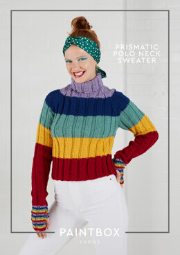 """Prismatic Polo Neck Jumper"" - Free Jumper Knitting Pattern For Women in Paintbox Yarns Wool Mix Aran"