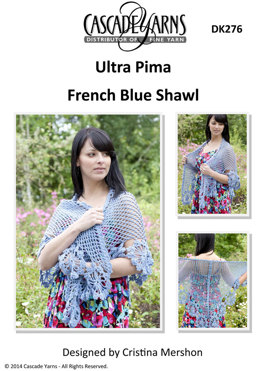 French Blue Shawl in Cascade Ultra Pima - DK276