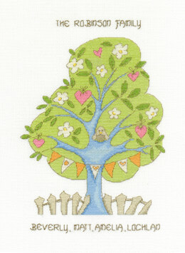DMC My Family Tree 14 Count Cross Stitch Kit - 22cm x 18cm