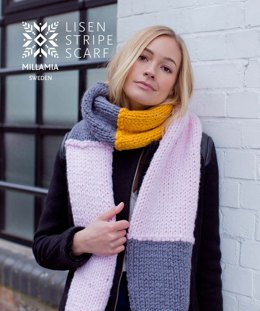 """Lisen Stripe Scarf"" - Scarf Knitting Pattern in MillaMia Naturally Soft Super Chunky"