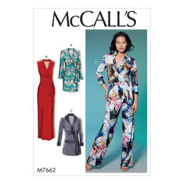 McCall's Misses' Wrap Dresses, Romper and Jumpsuit with Ties M7662 - Sewing Pattern