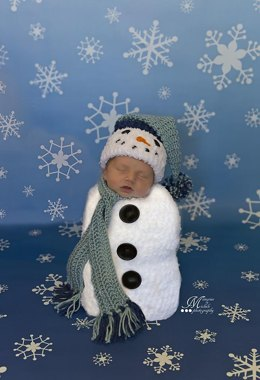 Newborn Snowman Hat, Scarf, and Cocoon
