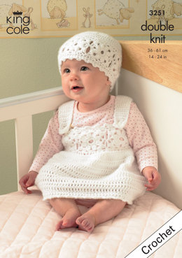 Cardigan, Waistcoat, Pinafore Dress & Hat in King Cole Comfort DK - 3251
