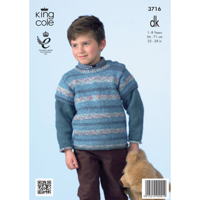 Boys' Striped Pullover and Sweater in King Cole Splash DK - 3716