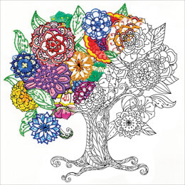 """Design Works Zenbroidery Tree Cotton Fabric - 10 x 10"""""""
