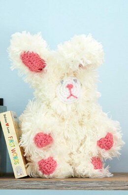My Furry Bunny in Red Heart Fur & Super Saver Economy Solids - LW5615 - Downloadable PDF
