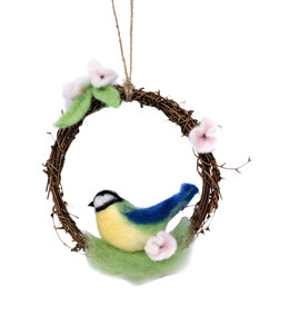 The Crafty Kit Company Spring Blue Tit Wreath Needle Felting Kit - 190 x 290 x 94mm