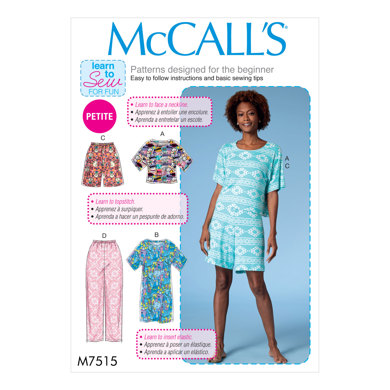 McCall's Misses'/Miss Petite Short Sleeve Top and Dress, and Pull-On Shorts and Pants M7515 - Sewing Pattern