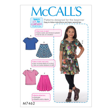 Mccalls Girlsgirls Plus Knit Tops And Flared Skirts M7462
