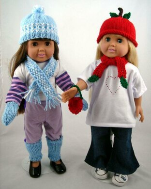 Wearable Warmers, Knitting Patterns fit American Girl and other 18-Inch Dolls